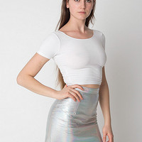 Hologram Leather Mini Skirt
