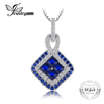 JewelryPalace Vintage Square 0.6ct Created Blue Spinel Pendant Necklaces 925 Sterling Silver Chain Jewelry Accessories For Women