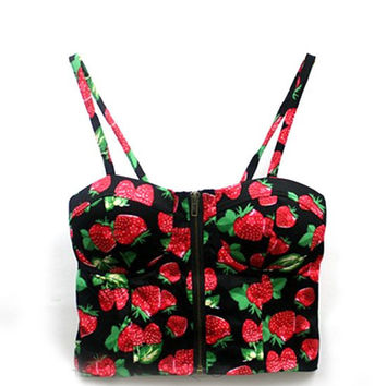 Black Cherry Printed Bustier Crop Top with Zipper