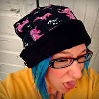 reversible Unicorn slouch beanie Hat in sizes baby/ toddler/ kids/ adult