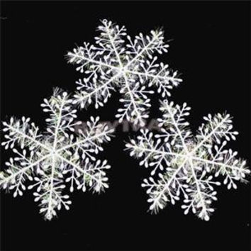 Christmas Ornament 3pcs/1pack White Plastic Christmas Snowflake Christmas Tree /Window Christmas Decorations For Home