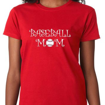 Baseball Mom Shirts., Women's, Size: Adult XL, Red