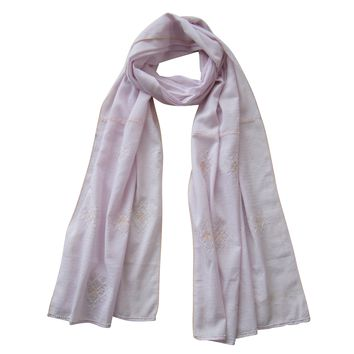 Embroidered Scarf : Pastel; LAVENDER