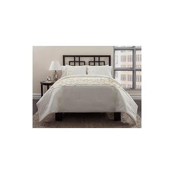 East End Living Horizontal Pleating 3-Piece Bedding Comforter Set Ivory, Full/Q