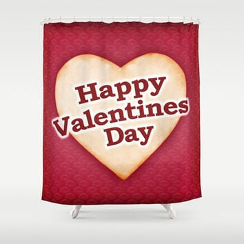 Heart Shaped Happy Valentine Day Text Design Shower Curtain by DFLC Prints