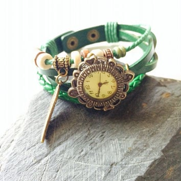 Green Leather Wrap Watch Women Fashion Wrist watch  - wing  charm - Steampunk