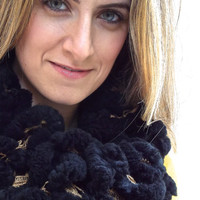 Black Soft and Fluffy Scarf, Gold and Black Plush Knitted Warm Winter Neck Warmer