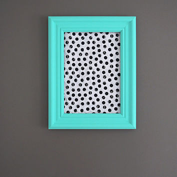 Aqua Framed Chicken Wire Organizer / Memo Board / Jewelry Hanger / Black & White Polka dots