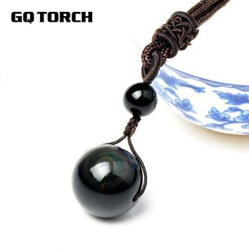 Women Black Obsidian Rainbow Eye Bead Ball Necklace