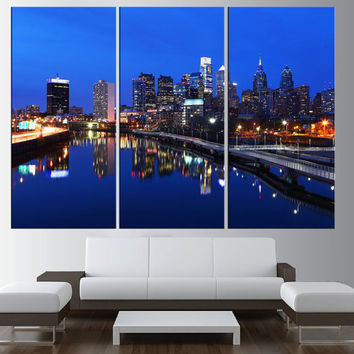 Philadelphia skyline wall art, Ben franklin bridge canvas Print, extra large wall art, canvas art for large wall, modern wall decor t378
