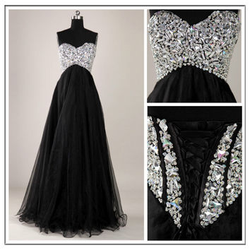 Stunning Black A-line Sweetheart Sweep Train Prom Dress