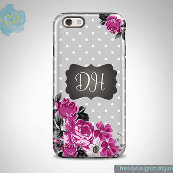 Personalized iPhone case, iPhone 6 case iPhone 5 5C case Samsung S6 S5 Monogram Case, Gray Purple Roses Floral Case, Chalkboard Design (8)
