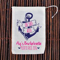 Anchor Oh Shit Kit Bachelorette Party Hangover Kit- Muslin Cotton Mini Favor Bags