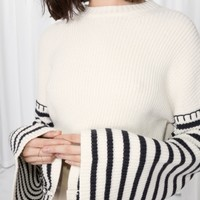 & Other Stories | Striped Flare Sleeve Sweater | Off white