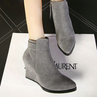 On Sale Hot Deal Winter Suede Wedge Korean Style Zippers Dr. Martens Plus Size Boots [6366200836]