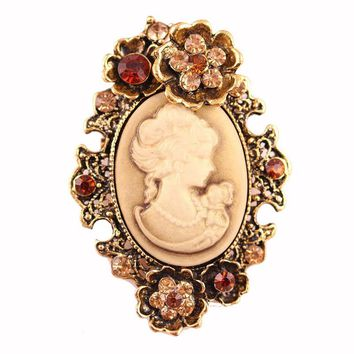 Brand Top Quality Vintage  Rhinestone Brooch Beautiful Cameo Lady Head Diamante Crystal Brooches For Women