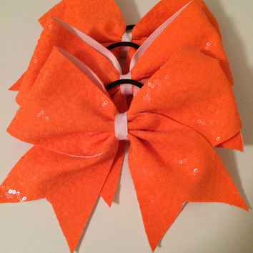 Orange sequins cheer bow