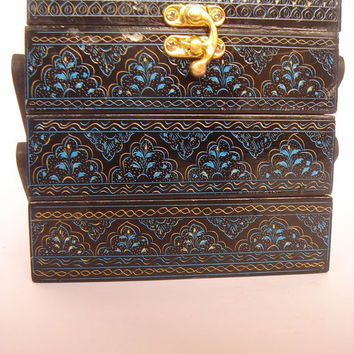 Wooden jewelry box engraved with Lacquer Art three by Art8craft