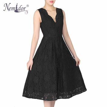Nemidor 2018 Women Elegant Plus Size V-neck Midi Swing Dress Summer Sleeveless Scalloped Retro Party Casual Lace Dress