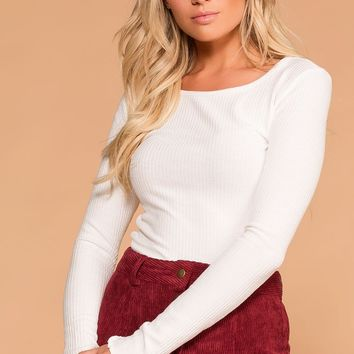 Afternoon Breeze White Long Sleeve Crop Top