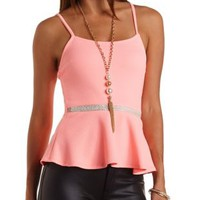 Peplum Tank with Beaded Waistband by Charlotte Russe - Neon Coral