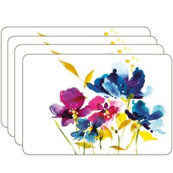 Jason Art House Florals Hardboard Corked-Backed Placemats (Set of 4)