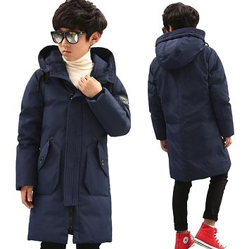 Russian Winter Jackets Boy Duck Down Padded Jacket Big Boys Warm Parkas Winter Down Coat Thickening Hooded Outerwear
