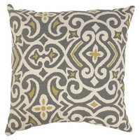 Damask Toss Pillow Collection - Gray/Yellow