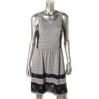 Maison Jules Womens Striped Printed Casual Dress