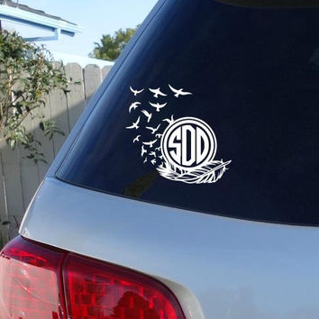 Feather Monogram | Feather Decal |Feather Bird Monogram | Flock of Birds Decal | Hipster Decal Monogram Bird Feather Car Decal Hipster Boho