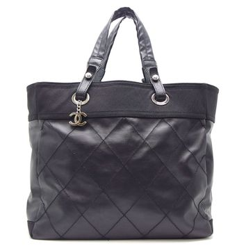 Auth Chanel Black Calf Leather Coating Canvas Paris Biarritz MM Tote Bag/DH44593