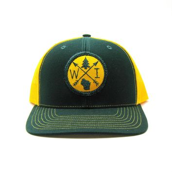 Wisconsin Trucker Hat - Green and Gold Snapback with Arrow Patch