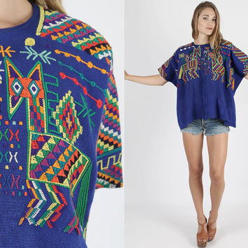 Vintage Mexican Tunic Guatemalan Top Mexican Top Guatemalan Top Boho Tunic 70s Tunic Boho Floral Embroider Hippie Guatemalan Ethnic Top OS