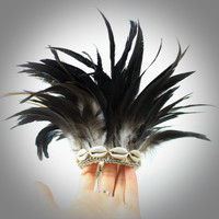 Real Feathers Armband- Armlet-Upper Arm Cuff-Smooth Black Brown Mixed Iridescent Long Feather Upper Arm Bracelet-Burlesque Show Body Jewelry
