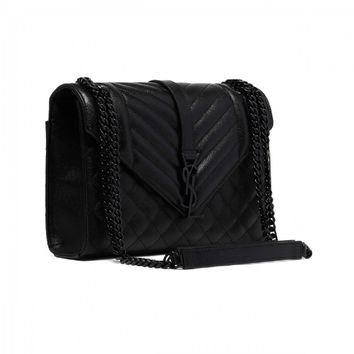 Saint Laurent YSL Women's Black with Black Hardware Medium Envelope Chain Shoulder Bag 428134