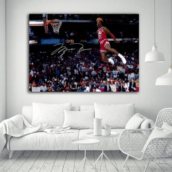 Chicago Bull Michael Jordan salm Famous Dunk wall picture canvas art print stretched frame Artwork wall painting decor 32x48inch