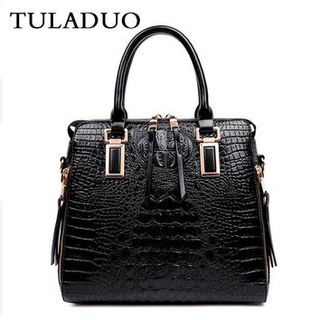Tuladuo Woman Vintage Alligator Bag Famous Designer Luxury Leather Bags Female Handbags Sac a Main Tote Bag Bolsos Messenger Bag