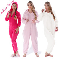JUICE MATE Plus Size Fluffy Fleece Onesuit Pink Hot Pink Cream Sleepwear Winter Warm Hooded Pajama Set Onesuit For Women & Girls