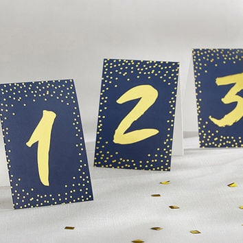 Navy And Gold Tented Table Numbers (Set of 18)