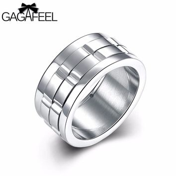 GAGAFEEL Man Ring Silver Stainless Steel Jewelry Unique High Quality 10 mm wide Men Finger Rings