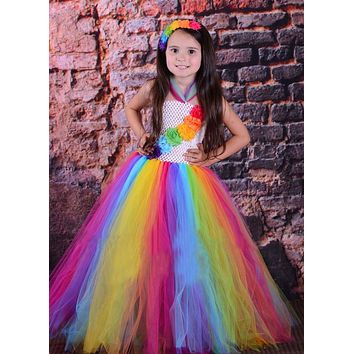 Candy Rainbow Birthday Tutu Dress Children Girls Spring Summer Dress Halloween Christmas Carnival Costume Photo Props TS095
