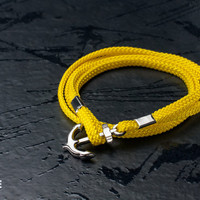 Nautical yellow anchor bracelet