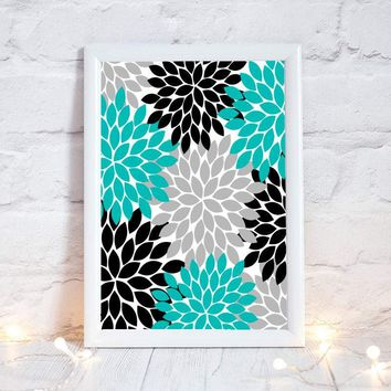 Turquoise Gray Black Flower Wall Art, Bedroom Picture Canvas or Prints  Bathroom Decor, Flower Burst Wall Art, Dahlia, Single One Decor