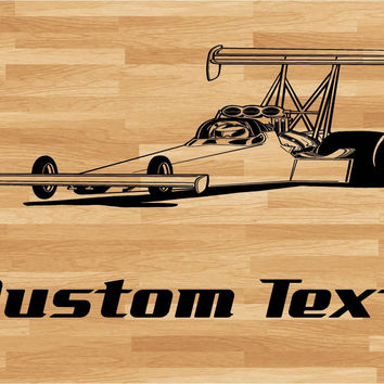 Dragster Drag Racing Car Wall Decal - Auto Wall Mural - Vinyl Stickers - Boys Room Decor