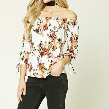 Floral Boat Neck Top