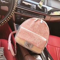 '' CHANEL '' Women Casual School Bag Cowhide Leather Backpack