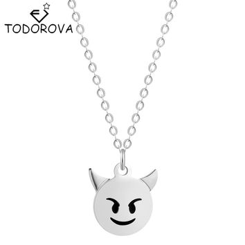 Todorova 10pcs Cute Tiny Round Devil Pendant with Chain Charm Monsters Necklaces Steampunk Jewelry Gift for Boyfriend