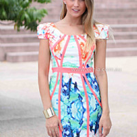 FLOWER BAY DRESS , DRESSES, TOPS, BOTTOMS, JACKETS & JUMPERS, ACCESSORIES, 50% OFF SALE, PRE ORDER, NEW ARRIVALS, PLAYSUIT, COLOUR, GIFT VOUCHER,,Blue,Print,BACKLESS,BODYCON,SLEEVELESS,SHORT SLEEVE,MINI Australia, Queensland, Brisbane