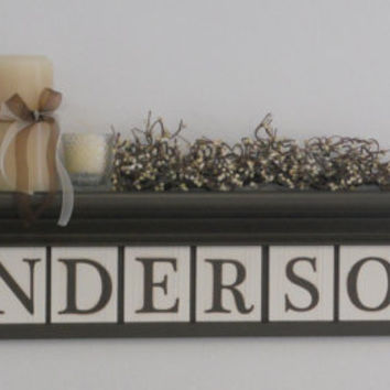"Personalized Family Name Signs 36"" Shelf with 10 Wooden Letter Tiles Painted Chocolate Brown Custom for ANDERSON with Maple Leaves"