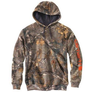 Carhartt Men's Midweight Camo Sleeve Logo Hooded Sweatshirt - 101763